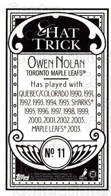 2003-04 Topps C55 Minis Hat Trick #11 Owen Nolan<br/>1 In Stock - $5.00 each - <a href=https://centericecollectibles.foxycart.com/cart?name=2003-04%20Topps%20C55%20Minis%20Hat%20Trick%20%2311%20Owen%20Nolan...&quantity_max=1&price=$5.00&code=318890 class=foxycart> Buy it now! </a>