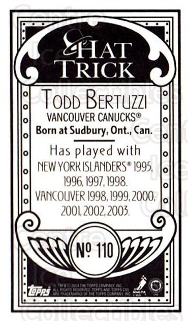 2003-04 Topps C55 Minis Hat Trick #110 Todd Bertuzzi<br/>2 In Stock - $5.00 each - <a href=https://centericecollectibles.foxycart.com/cart?name=2003-04%20Topps%20C55%20Minis%20Hat%20Trick%20%23110%20Todd%20Bertuzzi...&quantity_max=2&price=$5.00&code=318891 class=foxycart> Buy it now! </a>