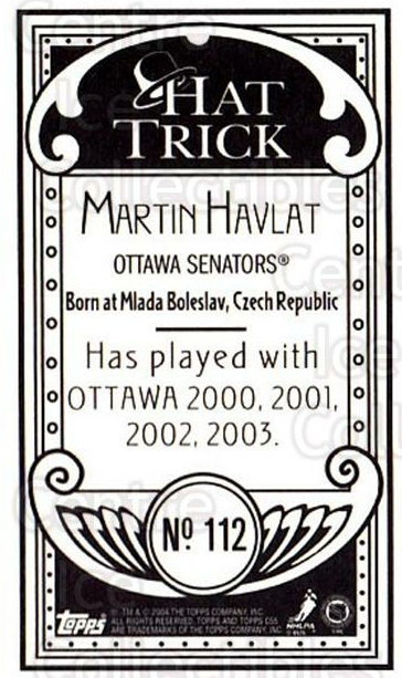 2003-04 Topps C55 Minis Hat Trick #112 Martin Havlat<br/>1 In Stock - $5.00 each - <a href=https://centericecollectibles.foxycart.com/cart?name=2003-04%20Topps%20C55%20Minis%20Hat%20Trick%20%23112%20Martin%20Havlat...&quantity_max=1&price=$5.00&code=318893 class=foxycart> Buy it now! </a>