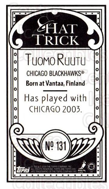 2003-04 Topps C55 Minis Hat Trick #131 Tuomo Ruutu<br/>1 In Stock - $5.00 each - <a href=https://centericecollectibles.foxycart.com/cart?name=2003-04%20Topps%20C55%20Minis%20Hat%20Trick%20%23131%20Tuomo%20Ruutu...&quantity_max=1&price=$5.00&code=318911 class=foxycart> Buy it now! </a>