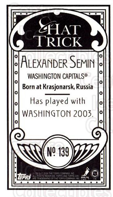 2003-04 Topps C55 Minis Hat Trick #139 Alexander Semin<br/>1 In Stock - $5.00 each - <a href=https://centericecollectibles.foxycart.com/cart?name=2003-04%20Topps%20C55%20Minis%20Hat%20Trick%20%23139%20Alexander%20Semin...&quantity_max=1&price=$5.00&code=318918 class=foxycart> Buy it now! </a>
