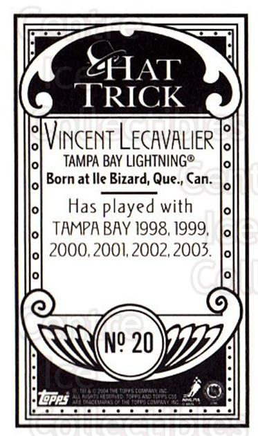 2003-04 Topps C55 Minis Hat Trick #20 Vincent Lecavalier<br/>1 In Stock - $5.00 each - <a href=https://centericecollectibles.foxycart.com/cart?name=2003-04%20Topps%20C55%20Minis%20Hat%20Trick%20%2320%20Vincent%20Lecaval...&quantity_max=1&price=$5.00&code=318940 class=foxycart> Buy it now! </a>