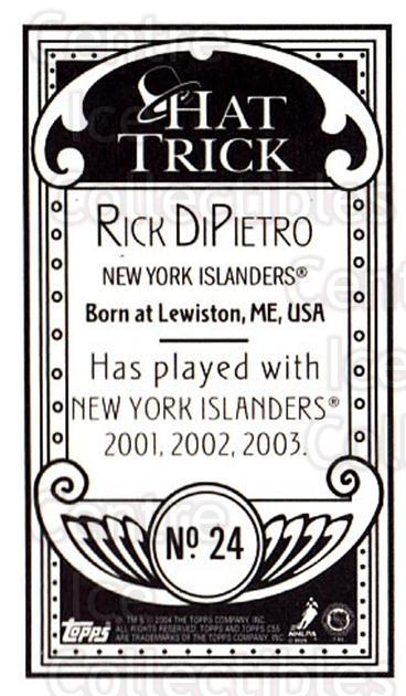 2003-04 Topps C55 Minis Hat Trick #24 Rick DiPietro<br/>1 In Stock - $5.00 each - <a href=https://centericecollectibles.foxycart.com/cart?name=2003-04%20Topps%20C55%20Minis%20Hat%20Trick%20%2324%20Rick%20DiPietro...&quantity_max=1&price=$5.00&code=318942 class=foxycart> Buy it now! </a>