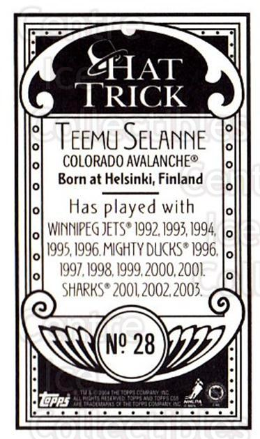 2003-04 Topps C55 Minis Hat Trick #28 Teemu Selanne<br/>1 In Stock - $10.00 each - <a href=https://centericecollectibles.foxycart.com/cart?name=2003-04%20Topps%20C55%20Minis%20Hat%20Trick%20%2328%20Teemu%20Selanne...&quantity_max=1&price=$10.00&code=318946 class=foxycart> Buy it now! </a>
