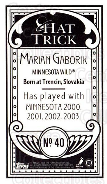 2003-04 Topps C55 Minis Hat Trick #40 Marian Gaborik<br/>1 In Stock - $5.00 each - <a href=https://centericecollectibles.foxycart.com/cart?name=2003-04%20Topps%20C55%20Minis%20Hat%20Trick%20%2340%20Marian%20Gaborik...&quantity_max=1&price=$5.00&code=318959 class=foxycart> Buy it now! </a>