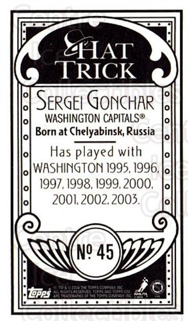 2003-04 Topps C55 Minis Hat Trick #45 Sergei Gonchar<br/>2 In Stock - $5.00 each - <a href=https://centericecollectibles.foxycart.com/cart?name=2003-04%20Topps%20C55%20Minis%20Hat%20Trick%20%2345%20Sergei%20Gonchar...&quantity_max=2&price=$5.00&code=318964 class=foxycart> Buy it now! </a>