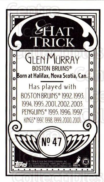 2003-04 Topps C55 Minis Hat Trick #47 Glen Murray<br/>1 In Stock - $5.00 each - <a href=https://centericecollectibles.foxycart.com/cart?name=2003-04%20Topps%20C55%20Minis%20Hat%20Trick%20%2347%20Glen%20Murray...&quantity_max=1&price=$5.00&code=318966 class=foxycart> Buy it now! </a>