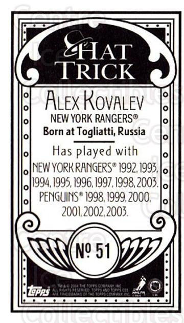2003-04 Topps C55 Minis Hat Trick #51 Alexei Kovalev<br/>2 In Stock - $5.00 each - <a href=https://centericecollectibles.foxycart.com/cart?name=2003-04%20Topps%20C55%20Minis%20Hat%20Trick%20%2351%20Alexei%20Kovalev...&quantity_max=2&price=$5.00&code=318971 class=foxycart> Buy it now! </a>