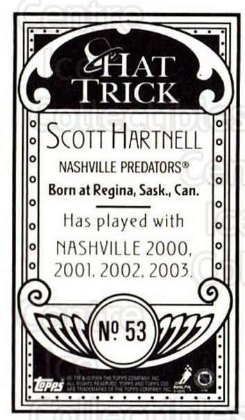 2003-04 Topps C55 Minis Hat Trick #53 Scott Hartnell<br/>3 In Stock - $5.00 each - <a href=https://centericecollectibles.foxycart.com/cart?name=2003-04%20Topps%20C55%20Minis%20Hat%20Trick%20%2353%20Scott%20Hartnell...&quantity_max=3&price=$5.00&code=318973 class=foxycart> Buy it now! </a>