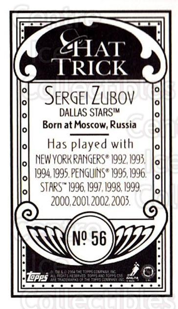 2003-04 Topps C55 Minis Hat Trick #56 Sergei Zubov<br/>1 In Stock - $5.00 each - <a href=https://centericecollectibles.foxycart.com/cart?name=2003-04%20Topps%20C55%20Minis%20Hat%20Trick%20%2356%20Sergei%20Zubov...&quantity_max=1&price=$5.00&code=318976 class=foxycart> Buy it now! </a>