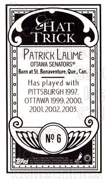 2003-04 Topps C55 Minis Hat Trick #6 Patrick Lalime<br/>1 In Stock - $5.00 each - <a href=https://centericecollectibles.foxycart.com/cart?name=2003-04%20Topps%20C55%20Minis%20Hat%20Trick%20%236%20Patrick%20Lalime...&quantity_max=1&price=$5.00&code=318980 class=foxycart> Buy it now! </a>