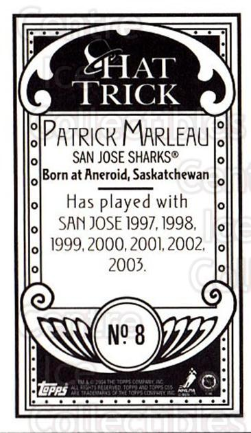 2003-04 Topps C55 Minis Hat Trick #8 Patrick Marleau<br/>1 In Stock - $5.00 each - <a href=https://centericecollectibles.foxycart.com/cart?name=2003-04%20Topps%20C55%20Minis%20Hat%20Trick%20%238%20Patrick%20Marleau...&quantity_max=1&price=$5.00&code=319001 class=foxycart> Buy it now! </a>