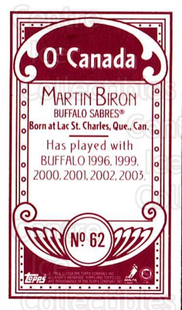 2003-04 Topps C55 Minis O Canada Red #62 Martin Biron<br/>1 In Stock - $5.00 each - <a href=https://centericecollectibles.foxycart.com/cart?name=2003-04%20Topps%20C55%20Minis%20O%20Canada%20Red%20%2362%20Martin%20Biron...&quantity_max=1&price=$5.00&code=319169 class=foxycart> Buy it now! </a>