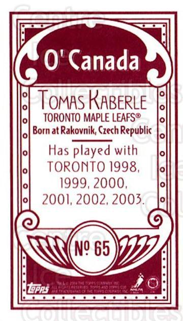 2003-04 Topps C55 Minis O Canada Red #65 Tomas Kaberle<br/>3 In Stock - $5.00 each - <a href=https://centericecollectibles.foxycart.com/cart?name=2003-04%20Topps%20C55%20Minis%20O%20Canada%20Red%20%2365%20Tomas%20Kaberle...&quantity_max=3&price=$5.00&code=319172 class=foxycart> Buy it now! </a>