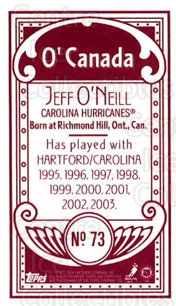 2003-04 Topps C55 Minis O Canada Red #73 Jeff O'Neill<br/>1 In Stock - $5.00 each - <a href=https://centericecollectibles.foxycart.com/cart?name=2003-04%20Topps%20C55%20Minis%20O%20Canada%20Red%20%2373%20Jeff%20O'Neill...&quantity_max=1&price=$5.00&code=319180 class=foxycart> Buy it now! </a>