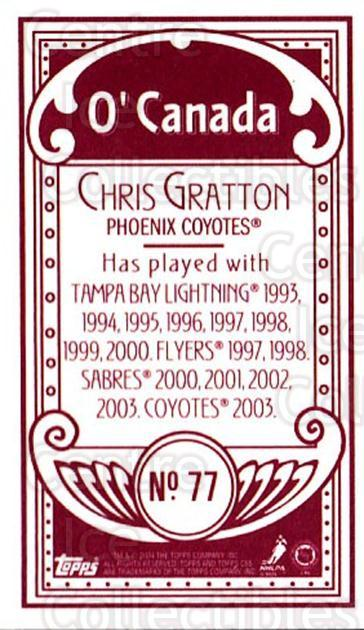 2003-04 Topps C55 Minis O Canada Red #77 Chris Gratton<br/>2 In Stock - $5.00 each - <a href=https://centericecollectibles.foxycart.com/cart?name=2003-04%20Topps%20C55%20Minis%20O%20Canada%20Red%20%2377%20Chris%20Gratton...&quantity_max=2&price=$5.00&code=319184 class=foxycart> Buy it now! </a>