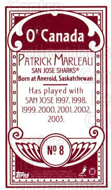 2003-04 Topps C55 Minis O Canada Red #8 Patrick Marleau<br/>1 In Stock - $5.00 each - <a href=https://centericecollectibles.foxycart.com/cart?name=2003-04%20Topps%20C55%20Minis%20O%20Canada%20Red%20%238%20Patrick%20Marleau...&quantity_max=1&price=$5.00&code=319187 class=foxycart> Buy it now! </a>