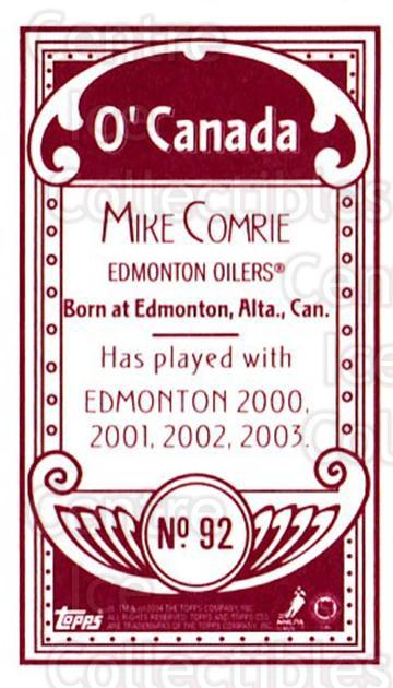 2003-04 Topps C55 Minis O Canada Red #92 Mike Comrie<br/>1 In Stock - $5.00 each - <a href=https://centericecollectibles.foxycart.com/cart?name=2003-04%20Topps%20C55%20Minis%20O%20Canada%20Red%20%2392%20Mike%20Comrie...&quantity_max=1&price=$5.00&code=319210 class=foxycart> Buy it now! </a>