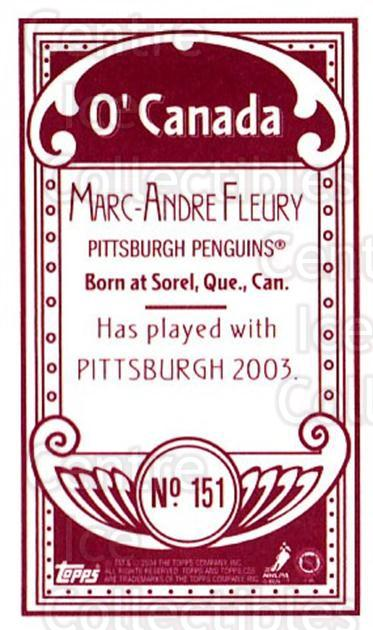 2003-04 Topps C55 Minis O Canada Red #151 Marc-Andre Fleury<br/>1 In Stock - $20.00 each - <a href=https://centericecollectibles.foxycart.com/cart?name=2003-04%20Topps%20C55%20Minis%20O%20Canada%20Red%20%23151%20Marc-Andre%20Fleu...&quantity_max=1&price=$20.00&code=319219 class=foxycart> Buy it now! </a>