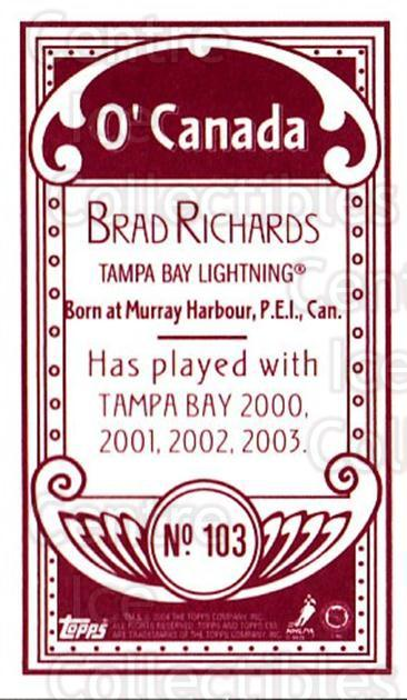 2003-04 Topps C55 Minis O Canada Red #103 Brad Richards<br/>1 In Stock - $5.00 each - <a href=https://centericecollectibles.foxycart.com/cart?name=2003-04%20Topps%20C55%20Minis%20O%20Canada%20Red%20%23103%20Brad%20Richards...&quantity_max=1&price=$5.00&code=319225 class=foxycart> Buy it now! </a>