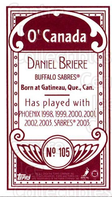 2003-04 Topps C55 Minis O Canada Red #105 Daniel Briere<br/>1 In Stock - $5.00 each - <a href=https://centericecollectibles.foxycart.com/cart?name=2003-04%20Topps%20C55%20Minis%20O%20Canada%20Red%20%23105%20Daniel%20Briere...&quantity_max=1&price=$5.00&code=319226 class=foxycart> Buy it now! </a>