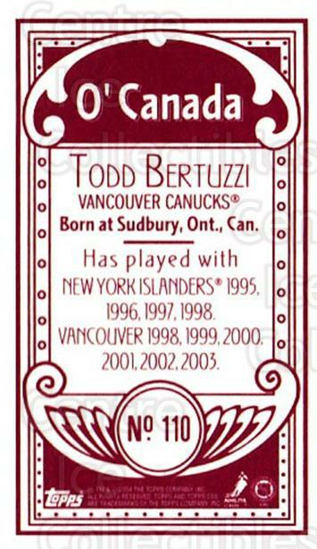 2003-04 Topps C55 Minis O Canada Red #110 Todd Bertuzzi<br/>1 In Stock - $5.00 each - <a href=https://centericecollectibles.foxycart.com/cart?name=2003-04%20Topps%20C55%20Minis%20O%20Canada%20Red%20%23110%20Todd%20Bertuzzi...&quantity_max=1&price=$5.00&code=319232 class=foxycart> Buy it now! </a>