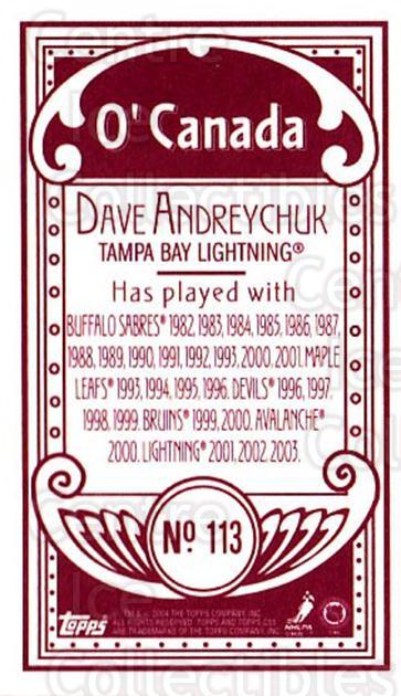 2003-04 Topps C55 Minis O Canada Red #113 Dave Andreychuk<br/>1 In Stock - $5.00 each - <a href=https://centericecollectibles.foxycart.com/cart?name=2003-04%20Topps%20C55%20Minis%20O%20Canada%20Red%20%23113%20Dave%20Andreychuk...&quantity_max=1&price=$5.00&code=319235 class=foxycart> Buy it now! </a>