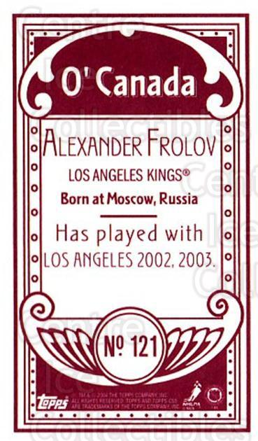 2003-04 Topps C55 Minis O Canada Red #121 Alexander Frolov<br/>1 In Stock - $5.00 each - <a href=https://centericecollectibles.foxycart.com/cart?name=2003-04%20Topps%20C55%20Minis%20O%20Canada%20Red%20%23121%20Alexander%20Frolo...&quantity_max=1&price=$5.00&code=319243 class=foxycart> Buy it now! </a>