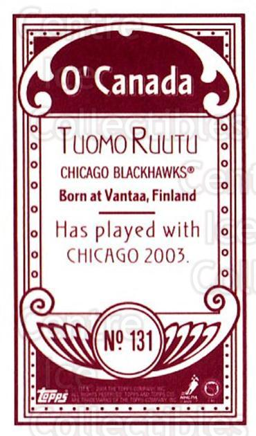 2003-04 Topps C55 Minis O Canada Red #131 Tuomo Ruutu<br/>1 In Stock - $5.00 each - <a href=https://centericecollectibles.foxycart.com/cart?name=2003-04%20Topps%20C55%20Minis%20O%20Canada%20Red%20%23131%20Tuomo%20Ruutu...&quantity_max=1&price=$5.00&code=319252 class=foxycart> Buy it now! </a>