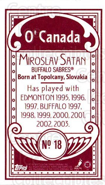 2003-04 Topps C55 Minis O Canada Red #18 Miroslav Satan<br/>1 In Stock - $5.00 each - <a href=https://centericecollectibles.foxycart.com/cart?name=2003-04%20Topps%20C55%20Minis%20O%20Canada%20Red%20%2318%20Miroslav%20Satan...&quantity_max=1&price=$5.00&code=319278 class=foxycart> Buy it now! </a>