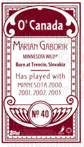 2003-04 Topps C55 Minis O Canada Red #40 Marian Gaborik<br/>1 In Stock - $5.00 each - <a href=https://centericecollectibles.foxycart.com/cart?name=2003-04%20Topps%20C55%20Minis%20O%20Canada%20Red%20%2340%20Marian%20Gaborik...&quantity_max=1&price=$5.00&code=319300 class=foxycart> Buy it now! </a>