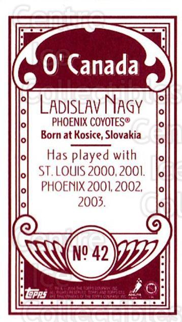 2003-04 Topps C55 Minis O Canada Red #42 Ladislav Nagy<br/>1 In Stock - $5.00 each - <a href=https://centericecollectibles.foxycart.com/cart?name=2003-04%20Topps%20C55%20Minis%20O%20Canada%20Red%20%2342%20Ladislav%20Nagy...&quantity_max=1&price=$5.00&code=319302 class=foxycart> Buy it now! </a>