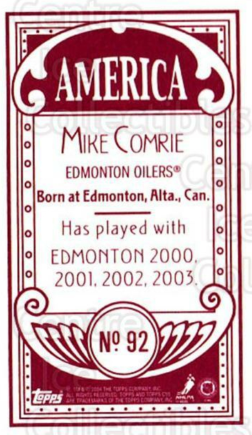 2003-04 Topps C55 Minis American Red Full Body #92 Mike Comrie<br/>1 In Stock - $5.00 each - <a href=https://centericecollectibles.foxycart.com/cart?name=2003-04%20Topps%20C55%20Minis%20American%20Red%20Full%20Body%20%2392%20Mike%20Comrie...&quantity_max=1&price=$5.00&code=319504 class=foxycart> Buy it now! </a>