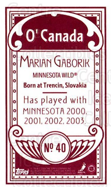 2003-04 Topps C55 Minis O Canada Red Full Body #40 Marian Gaborik<br/>1 In Stock - $5.00 each - <a href=https://centericecollectibles.foxycart.com/cart?name=2003-04%20Topps%20C55%20Minis%20O%20Canada%20Red%20Full%20Body%20%2340%20Marian%20Gaborik...&quantity_max=1&price=$5.00&code=319546 class=foxycart> Buy it now! </a>