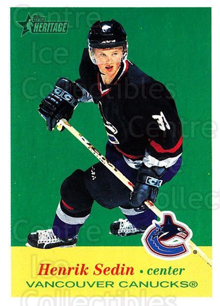 2001-02 Topps Heritage #27 Henrik Sedin<br/>7 In Stock - $1.00 each - <a href=https://centericecollectibles.foxycart.com/cart?name=2001-02%20Topps%20Heritage%20%2327%20Henrik%20Sedin...&quantity_max=7&price=$1.00&code=319649 class=foxycart> Buy it now! </a>