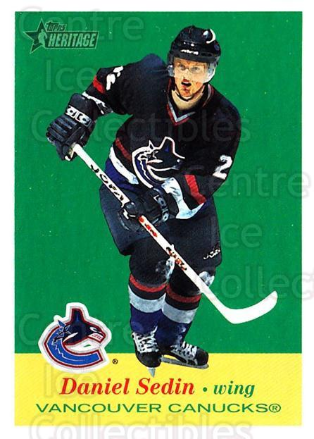 2001-02 Topps Heritage #48 Daniel Sedin<br/>7 In Stock - $1.00 each - <a href=https://centericecollectibles.foxycart.com/cart?name=2001-02%20Topps%20Heritage%20%2348%20Daniel%20Sedin...&quantity_max=7&price=$1.00&code=319670 class=foxycart> Buy it now! </a>