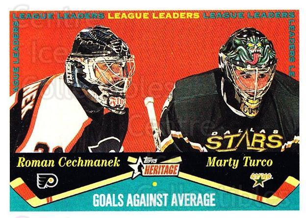 2001-02 Topps Heritage #129 Marty Turco, Roman Cechmanek<br/>4 In Stock - $1.00 each - <a href=https://centericecollectibles.foxycart.com/cart?name=2001-02%20Topps%20Heritage%20%23129%20Marty%20Turco,%20Ro...&quantity_max=4&price=$1.00&code=319751 class=foxycart> Buy it now! </a>