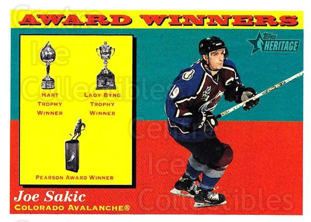 2001-02 Topps Heritage #130 Joe Sakic, Hart Trophy, Lady Byng Trophy, Lester Pearson Award<br/>7 In Stock - $2.00 each - <a href=https://centericecollectibles.foxycart.com/cart?name=2001-02%20Topps%20Heritage%20%23130%20Joe%20Sakic,%20Hart...&quantity_max=7&price=$2.00&code=319752 class=foxycart> Buy it now! </a>