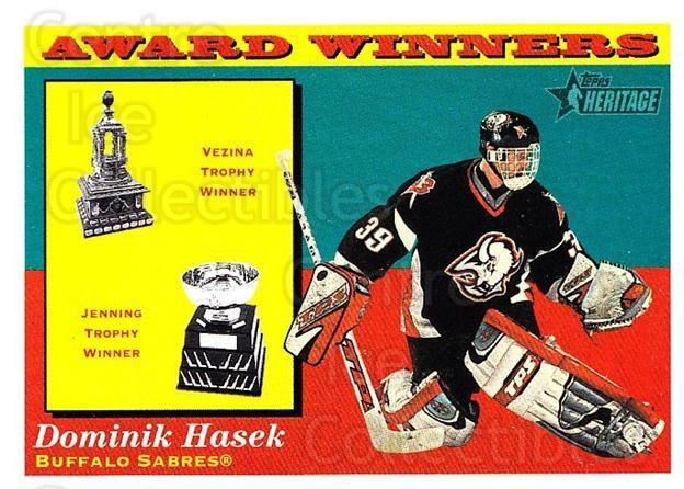 2001-02 Topps Heritage #135 Dominik Hasek, Vezina Trophy, Jennings Trophy<br/>3 In Stock - $1.00 each - <a href=https://centericecollectibles.foxycart.com/cart?name=2001-02%20Topps%20Heritage%20%23135%20Dominik%20Hasek,%20...&quantity_max=3&price=$1.00&code=319757 class=foxycart> Buy it now! </a>