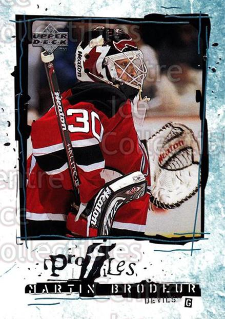 1998-99 Upper Deck Profiles #6 Martin Brodeur<br/>5 In Stock - $3.00 each - <a href=https://centericecollectibles.foxycart.com/cart?name=1998-99%20Upper%20Deck%20Profiles%20%236%20Martin%20Brodeur...&quantity_max=5&price=$3.00&code=320634 class=foxycart> Buy it now! </a>
