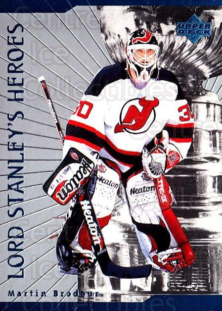 1998-99 Upper Deck Lord Stanleys Heroes #5 Martin Brodeur<br/>4 In Stock - $3.00 each - <a href=https://centericecollectibles.foxycart.com/cart?name=1998-99%20Upper%20Deck%20Lord%20Stanleys%20Heroes%20%235%20Martin%20Brodeur...&quantity_max=4&price=$3.00&code=320885 class=foxycart> Buy it now! </a>