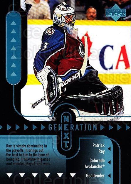 1998-99 Upper Deck Generation Next #7 JS Giguere, Patrick Roy<br/>4 In Stock - $5.00 each - <a href=https://centericecollectibles.foxycart.com/cart?name=1998-99%20Upper%20Deck%20Generation%20Next%20%237%20JS%20Giguere,%20Pat...&price=$5.00&code=320977 class=foxycart> Buy it now! </a>