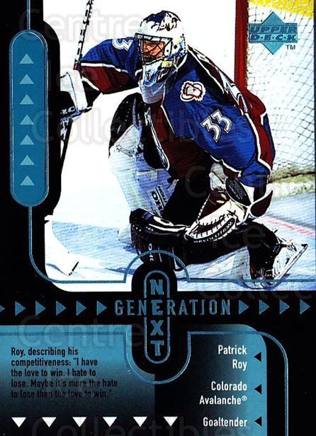 1998-99 Upper Deck Generation Next #9 Marc Denis, Patrick Roy<br/>1 In Stock - $5.00 each - <a href=https://centericecollectibles.foxycart.com/cart?name=1998-99%20Upper%20Deck%20Generation%20Next%20%239%20Marc%20Denis,%20Pat...&quantity_max=1&price=$5.00&code=320979 class=foxycart> Buy it now! </a>