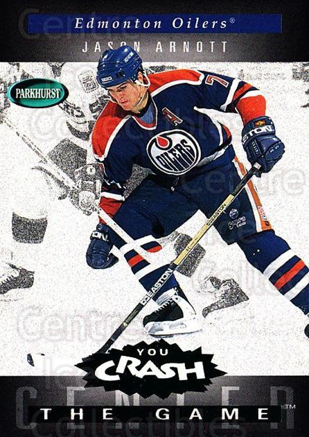 1994-95 Parkhurst Crash the Game Emerald #H08 Jason Arnott<br/>2 In Stock - $3.00 each - <a href=https://centericecollectibles.foxycart.com/cart?name=1994-95%20Parkhurst%20Crash%20the%20Game%20Emerald%20%23H08%20Jason%20Arnott...&quantity_max=2&price=$3.00&code=32104 class=foxycart> Buy it now! </a>
