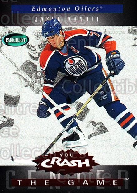 1994-95 Parkhurst Crash the Game Red #C08 Jason Arnott<br/>1 In Stock - $3.00 each - <a href=https://centericecollectibles.foxycart.com/cart?name=1994-95%20Parkhurst%20Crash%20the%20Game%20Red%20%23C08%20Jason%20Arnott...&quantity_max=1&price=$3.00&code=32123 class=foxycart> Buy it now! </a>