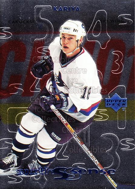 1999-00 Upper Deck Sixth Sense #11 Steve Kariya<br/>14 In Stock - $2.00 each - <a href=https://centericecollectibles.foxycart.com/cart?name=1999-00%20Upper%20Deck%20Sixth%20Sense%20%2311%20Steve%20Kariya...&quantity_max=14&price=$2.00&code=321709 class=foxycart> Buy it now! </a>
