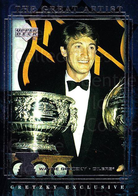 1999-00 Upper Deck Wayne Gretzky Exclusives #52 Wayne Gretzky, Hart Trophy, Art Ross Trophy<br/>3 In Stock - $2.00 each - <a href=https://centericecollectibles.foxycart.com/cart?name=1999-00%20Upper%20Deck%20Wayne%20Gretzky%20Exclusives%20%2352%20Wayne%20Gretzky,%20...&price=$2.00&code=321882 class=foxycart> Buy it now! </a>