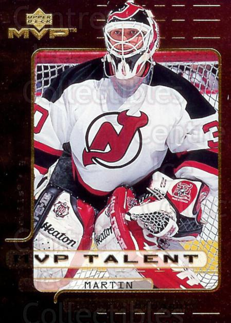 1999-00 Upper Deck MVP Talent #9 Martin Brodeur<br/>6 In Stock - $2.00 each - <a href=https://centericecollectibles.foxycart.com/cart?name=1999-00%20Upper%20Deck%20MVP%20Talent%20%239%20Martin%20Brodeur...&price=$2.00&code=322031 class=foxycart> Buy it now! </a>
