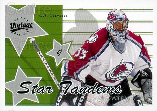 2000-01 UD Vintage Star Tandems #2B Patrick Roy<br/>1 In Stock - $5.00 each - <a href=https://centericecollectibles.foxycart.com/cart?name=2000-01%20UD%20Vintage%20Star%20Tandems%20%232B%20Patrick%20Roy...&price=$5.00&code=322933 class=foxycart> Buy it now! </a>