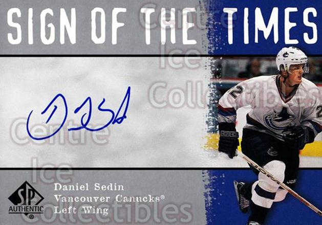 2000-01 SP Authentic Sign of the Times #DS Daniel Sedin<br/>1 In Stock - $10.00 each - <a href=https://centericecollectibles.foxycart.com/cart?name=2000-01%20SP%20Authentic%20Sign%20of%20the%20Times%20%23DS%20Daniel%20Sedin...&price=$10.00&code=323014 class=foxycart> Buy it now! </a>